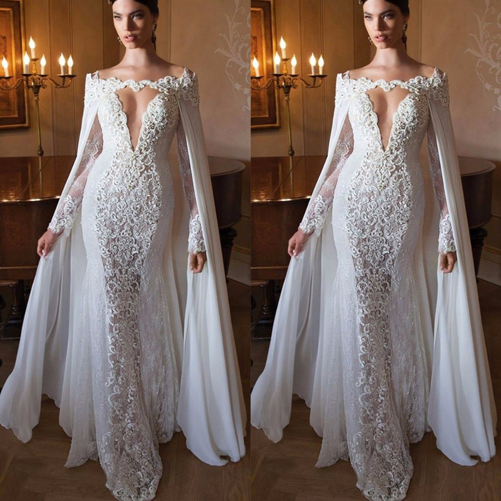 Elegant With Cape White Appliques Lace Arabic Evening Dresses 2021 Long Women Formal Prom Gowns Deep V-neck Mermaid