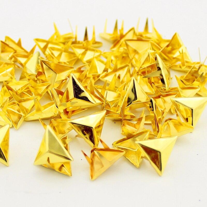 100 Uds moda 15mm oro triángulo tachuelas estilo punk rock DIY remaches clavos remaches accesorios para ropa remaches