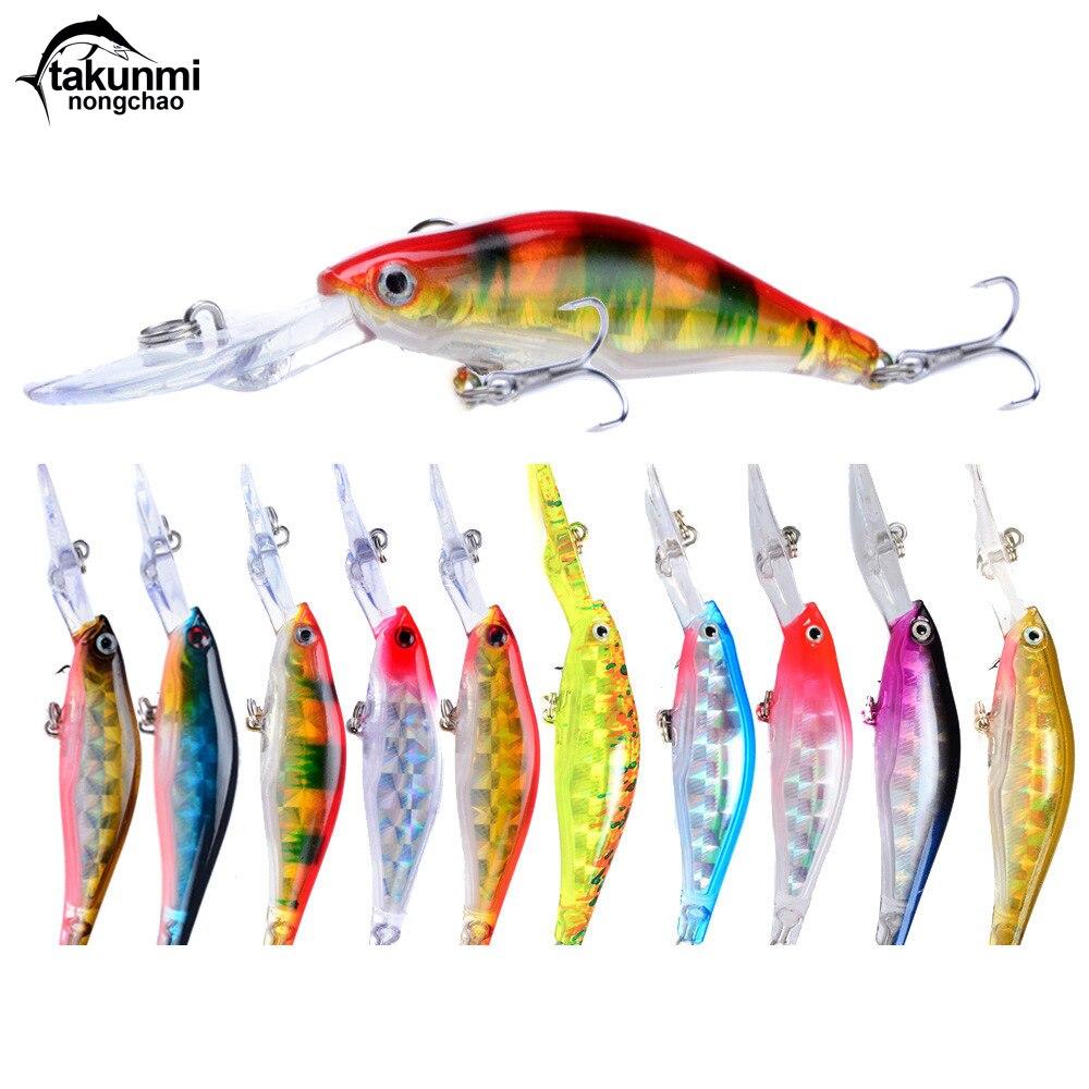 Wobblers jerkbait 5 colores de fundición larga 10cm 7g cebo duro Crank Minnow Señuelos de Pesca lubina fresca 6 # anzuelos de pesca LD-73