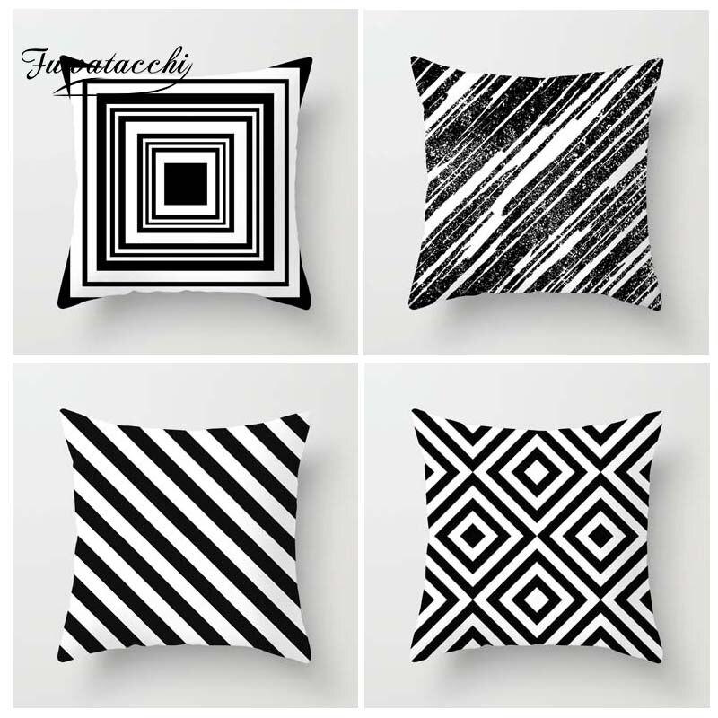 Funda de cojín de estilo geométrico Fuwatacchi, funda de almohada de onda impresa con puntos lisos, almohadas decorativas blancas y negras para sofá y coche