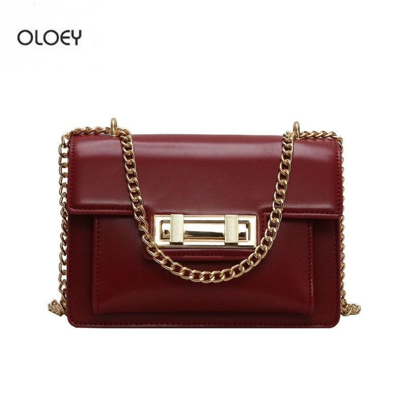 OLOEY Women's retro small square bag texture pu leather bag new chain shoulder bag Messenger bag fashion lock