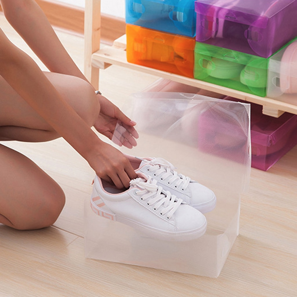 12 Uds caja de almacenamiento de calzado de plástico plegable transparente cajas organizadoras apilables caja de zapatos de plástico organizador de zapatos para el hogar