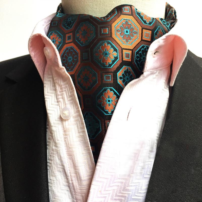 Fashion Unique Design Tie Luxury Vintage Floral Ascot Classic Britsh Style Jacquard Woven Ascots for Men