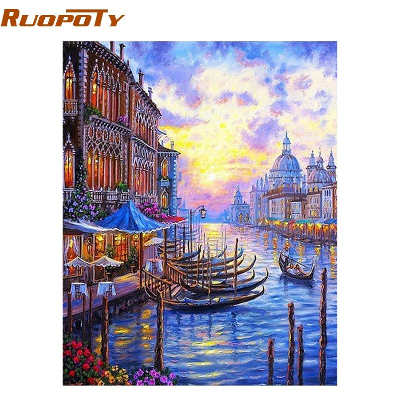 Картина RUOPOTY в стиле «сделай сам», Венецианский закат, картина по номерам, Современная Настенная живопись на холсте, акриловая краска по ном...