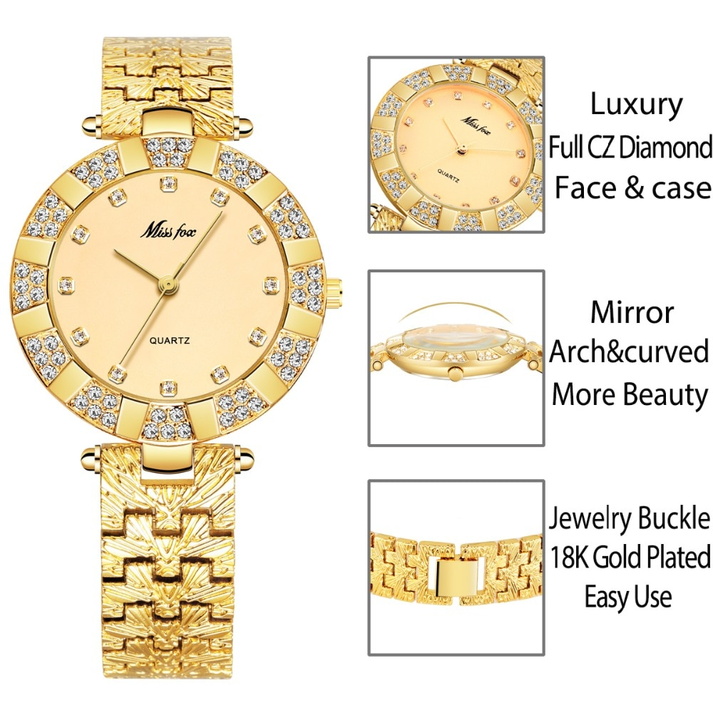 MISSFOX Women Watches Luxury Brand Fashion Casual Ladies Watch Women Quartz Diamond Geneva Lady Bracelet Wrist Watches For Women enlarge