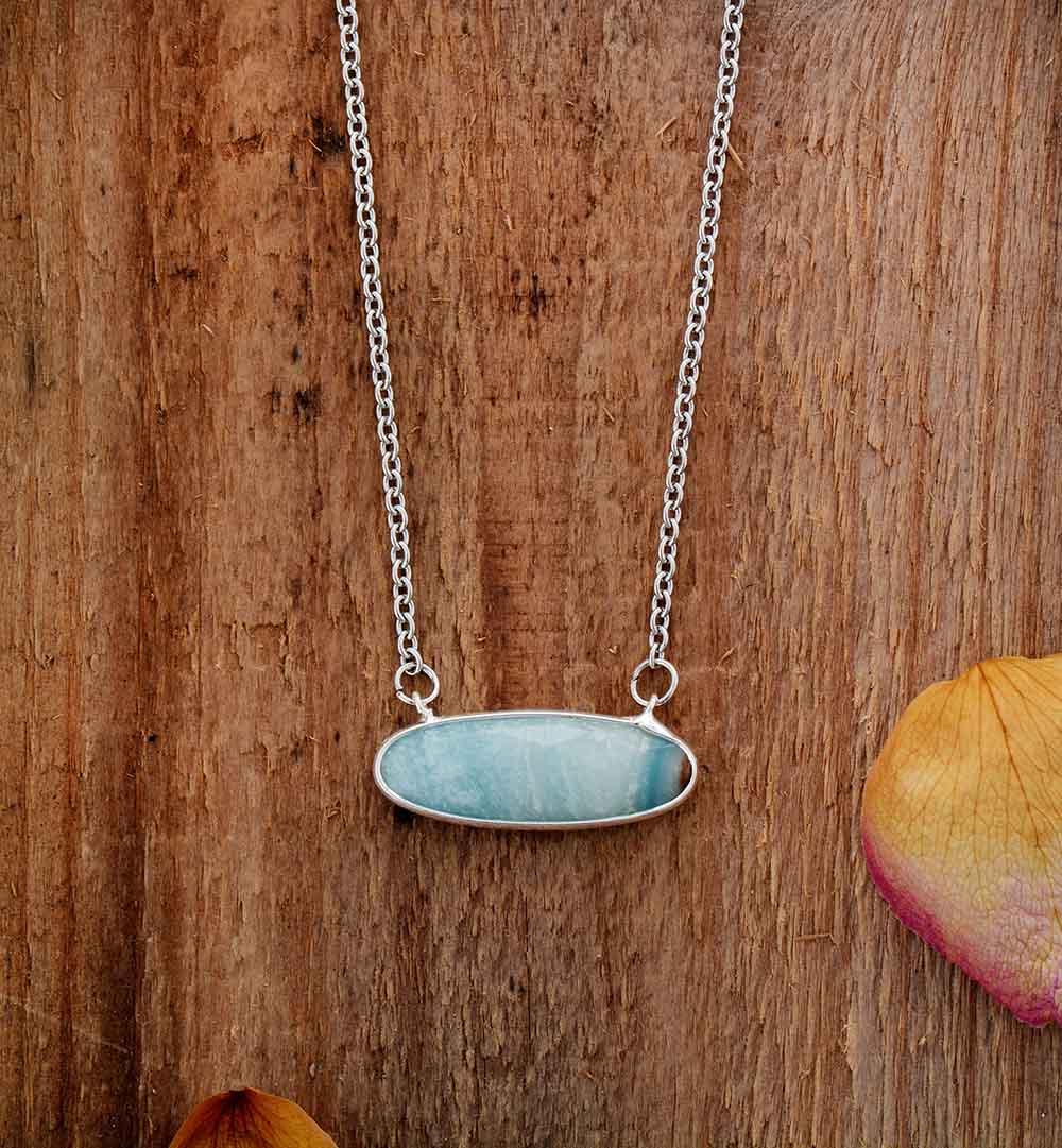 Collares con colgante de amazonita, collar con abalorio para mujer, collares de piedra Natural a la moda, joyería