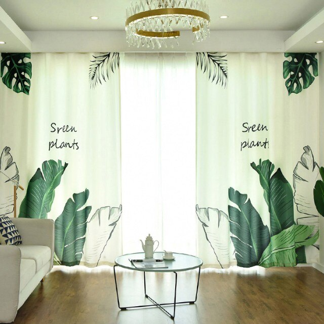 Cortinas para sala de estar, dormitorio, nórdico, Tropical, opacas, con hojas verdes, palmeras, flamencos, cortinas de paneles