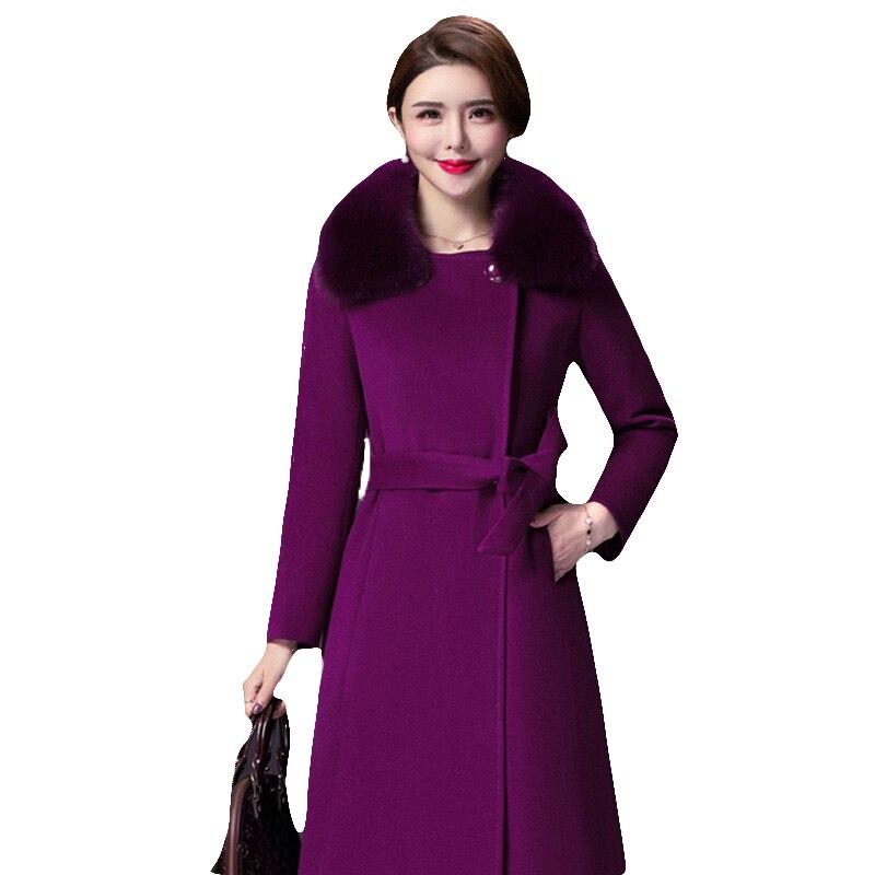 Chaqueta de abrigo de lana para mujer, moda femenina, abrigos largos de lana de gama alta, chaqueta fina de invierno larga elegante para mujer de talla grande