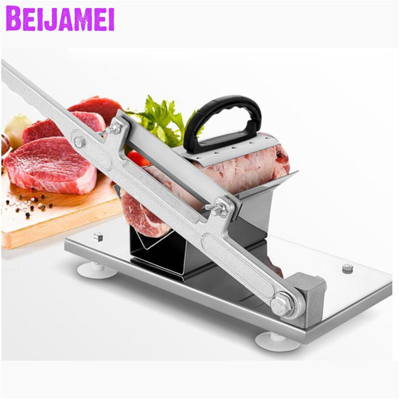 BEIJAMEI meat cutting equipment V shape stainless steel frozen beef meat slicer/manual frozen mutton rolls slicer