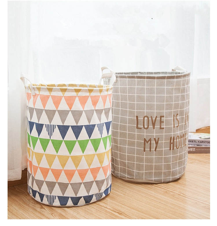 1PC Laundry Basket Storage Basket Organization Folding Desk Cotton Linen with Handle Dirty Clothes Sundries Storage Bag LF 266