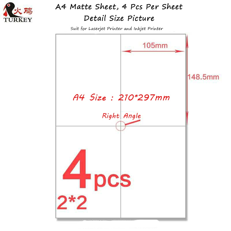 200 Pcs 105mm*148.5mm address label  stickers (50 sheets A4) GL-04