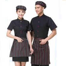 Hotel Waiter Uniform Summer Waitress Overalls Short Sleeved Waiters uniform food Fast-food Restaurant  Working Wear