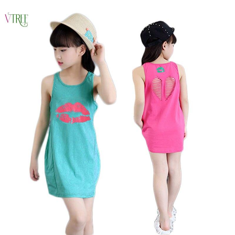 V-TREE de verano para niñas, vestido de algodón para bebés, ropa calada para niñas, vestido de princesa infantil, Ropa para Niñas