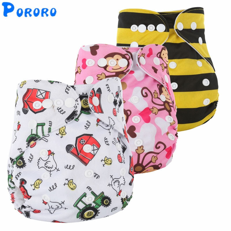 10 PCS Washable Diapers Baby Diaper Cover Cartoon Print Baby Nappy Changing Boys  Reusable Baby Cloth Diapers fashion cartoon print diaper pocket washable diapers couches lavables baby nappy reusable nappy baby cloth diapers