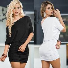 Workwear Office Cele Party Dress Sexy Women Half Sleeve One Shoulder Dress Stretch Bodycon Pencil Dress