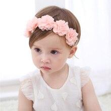 Corona de flores para bebé diadema flor gasa corona Rosa cintas para el cabello niñas accesorios para el cabello hechos a mano DIY