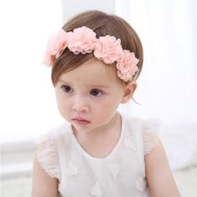 아기 꽃 크라운 머리띠 쉬폰 꽃 화환 핑크 리본 헤어 밴드 어린이 소녀 수제 diy의 머리 장식 헤어 액세서리