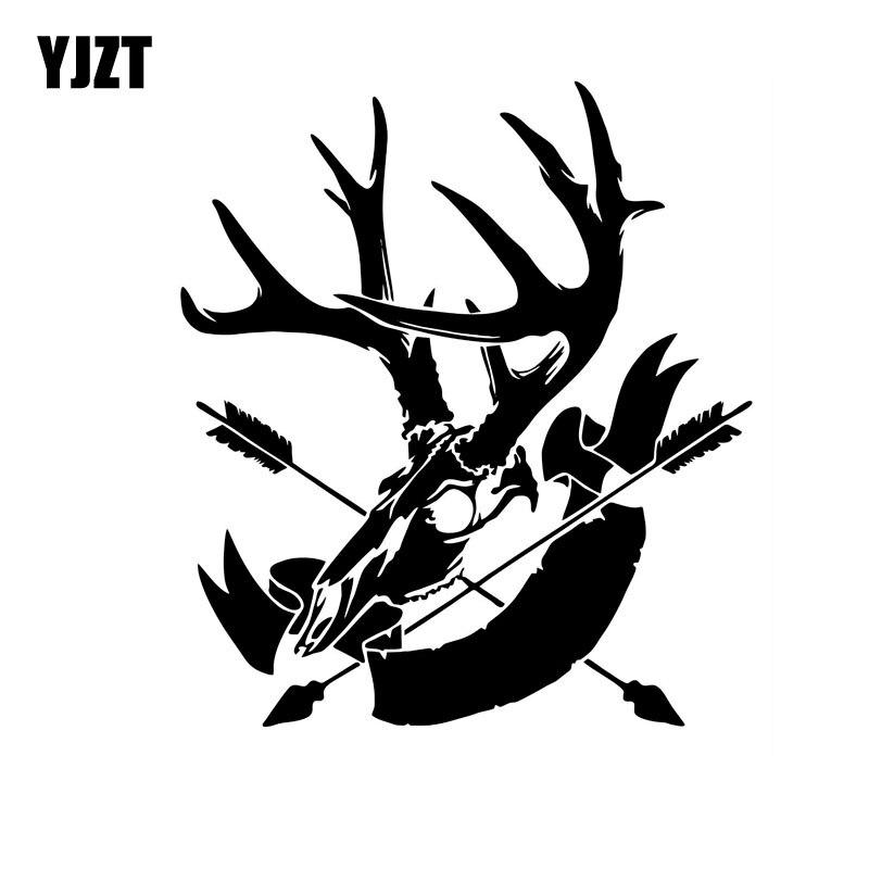 YJZT 15,7 см * 17,8 см охотничья голова олень лук стрелы автомобиля стикер виниловая наклейка черный/серебристый C10-01956