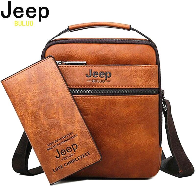 JEEP BULUO Высококачественная Мужская сумка в простом стиле, новые мужские сумки через плечо, сумки из спилка для мужчин, модные деловые сумки