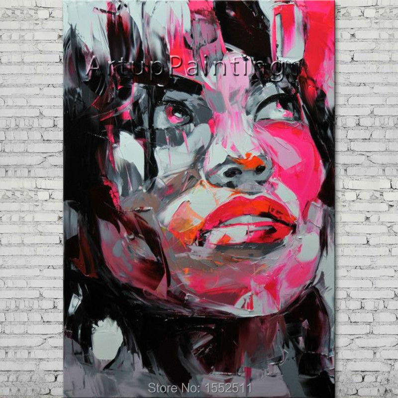Retrato hecho con paleta cara pintura de un personaje al óleo figura canva Francoise Nielly pintado a mano arte de pared imagen 12-35