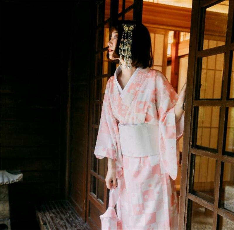 Kimono con cuello en V prenda exterior Albornoz traje niña vestido largo Kimono japonés mujer fiesta ropa a cuadros