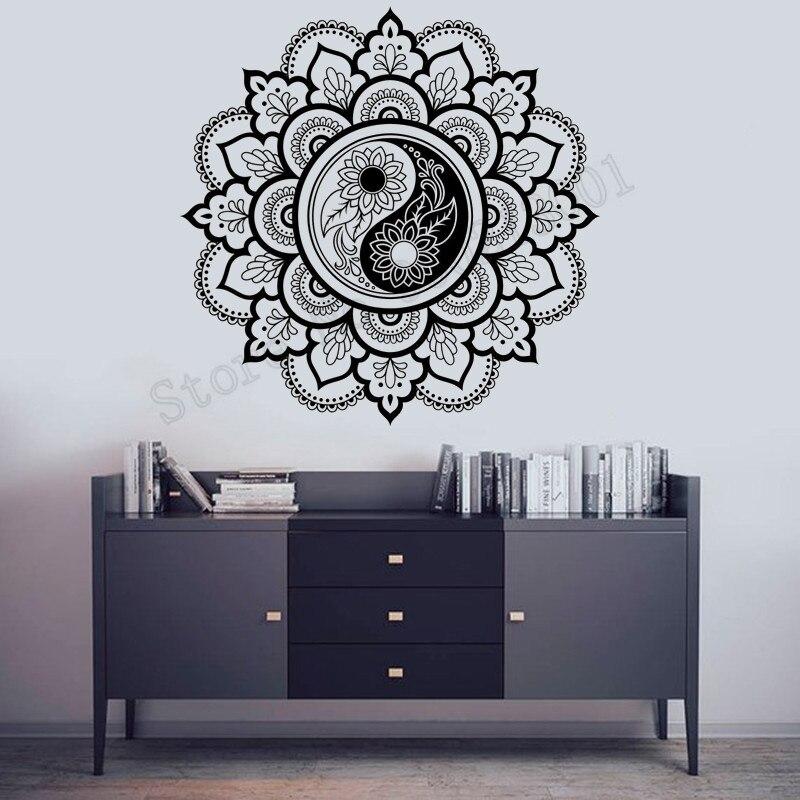 Yin yang mandala decoração do quarto arte vinil removível cartaz beleza moda moderno decalques ornamento decoração ly941