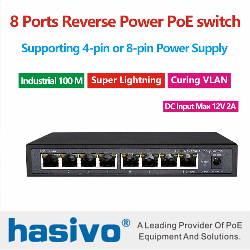 8 Ports Ethernet PoE switch Reverse Power supply  Switch VLAN