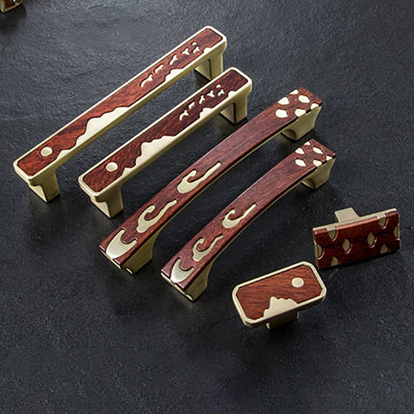 De Madera moderna puerta en patrón de manija, herrajes para muebles armario manija cajón tira cocina Pomos y tiradores de armario