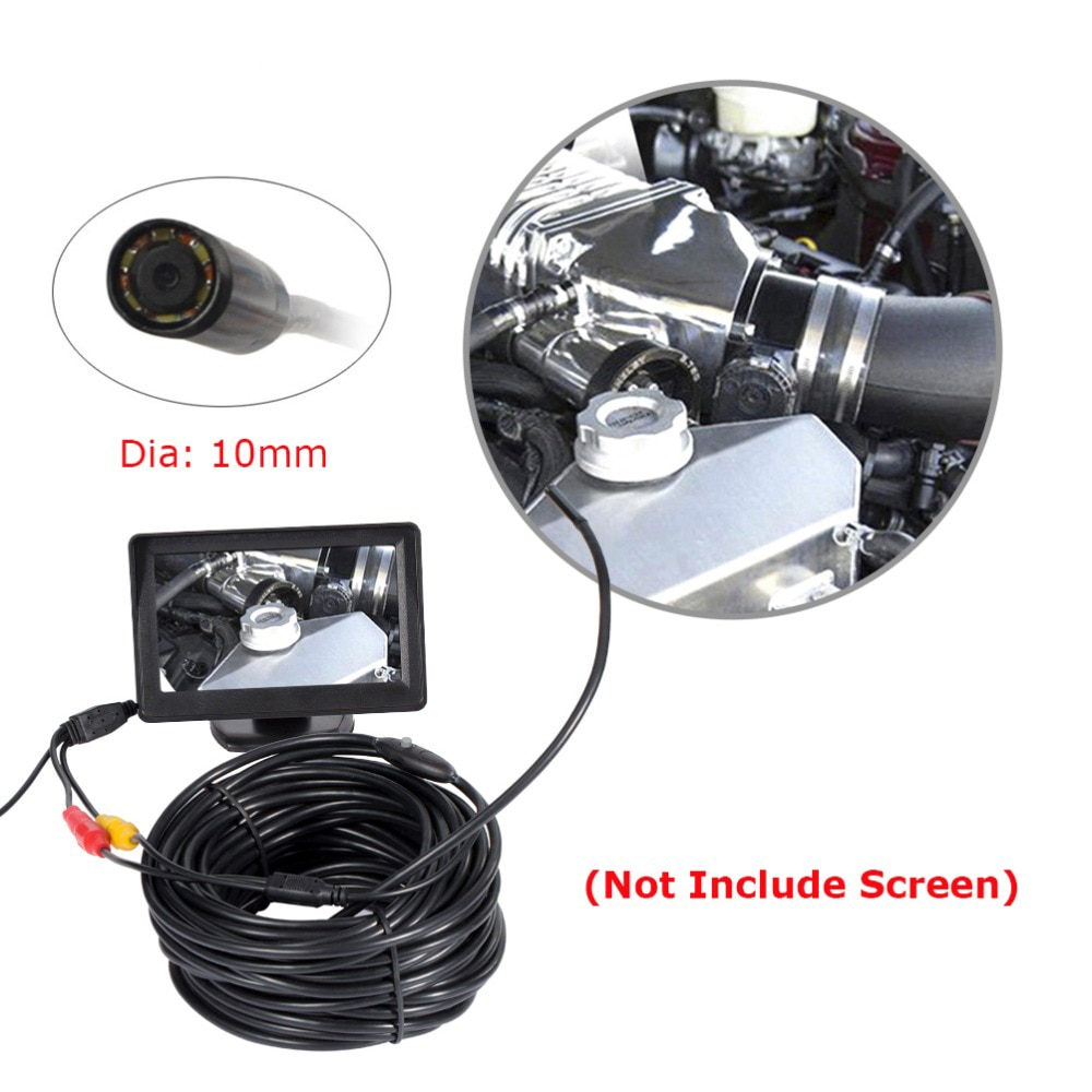 2018 AV endoscopio Mini cámara 12V 10mm Dia 20m Longitud IP66 impermeable 6 LED serpiente inspección boroscopio tubo Cam sin pantalla