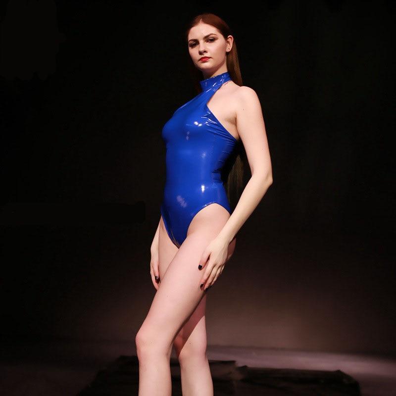Hot Sexy Latex Shiny Bodysuits Women Halter Backless High Cut Swimsuit Ladies Zipper Open Crotch Sukumizu Woman Elastic Bodysuit