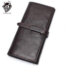 Café de luxe marque 100% véritable cuir de vachette de haute qualité hommes Long portefeuille porte-monnaie Vintage concepteur mâle Carteira portefeuilles