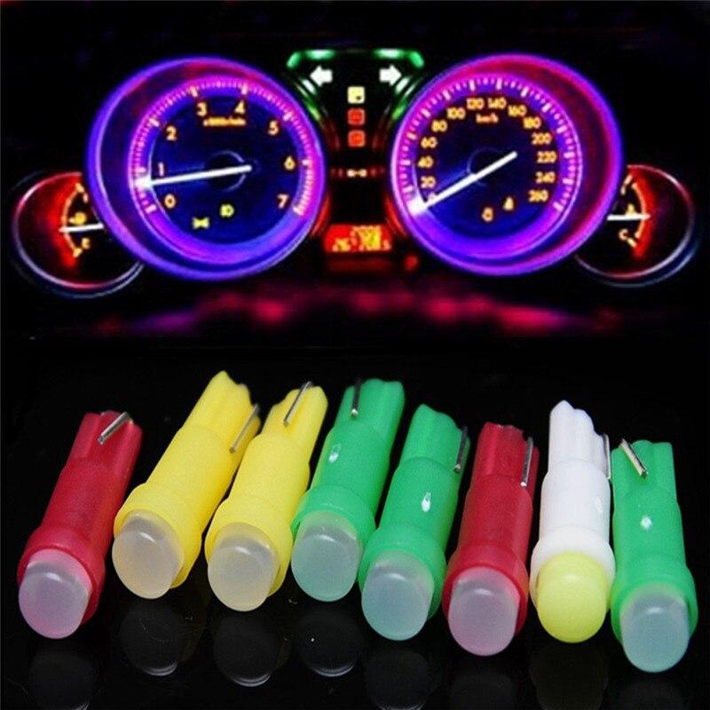 Car Light 10PC T5 1W 12 V 6000k Cob Led white lamps Reading Lights Bulbs          19F26