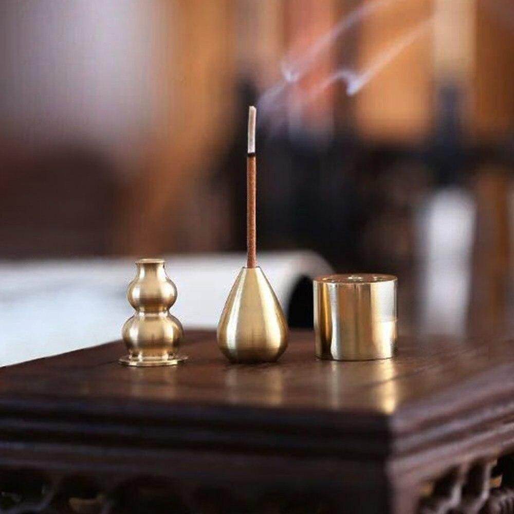 3 uds latón calabaza soporte quemador de incienso para grueso hecho a mano tibetano de la bobina/Palos Decoración de casa decoración de latón quemador de incienso