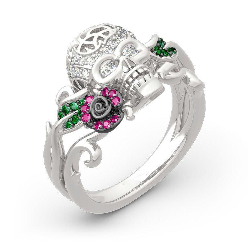 Moda brilhante punk crânio anel de promessa para mulher biker gótico anéis festa presente cristal crânio anel z4m272