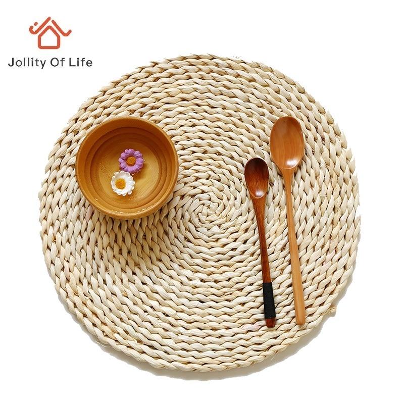 37cm natural milho casca esteira de mesa vintage palha placemat tecido copo coasters