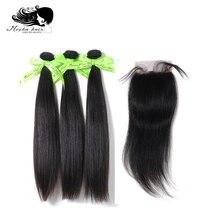 Mokka Haar 10A Peruaanse Straight Hair Extension 3 Bundels Met 4X4 Of 13X4 Vetersluiting Virgin menselijk Haar Weave Bundels