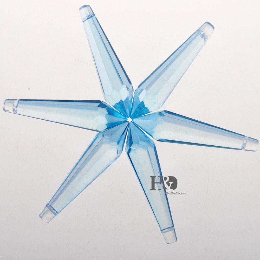 H & D 50 Uds. 55mm carámbano cristalino colgante candelabro prismas gotas lámpara candelabros cortina DIY partes (azul cielo)