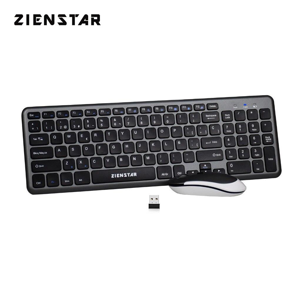 Zienstar испанские буквы 2,4G Беспроводная клавиатура мышь комбо с USB Приемником Для Macbook, компьютера, ноутбука и Smart TV