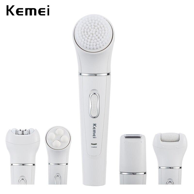 Cepillo facial recargable kemei 5 en 1, limpiador eléctrico, dispositivo de limpieza facial, masajeador eléctrico para mujer