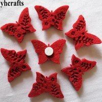 10pcslot red butterfly fabric felt stickers scrapbooking kit kindergarten crafts decorative stickers wall decal fridge stickers