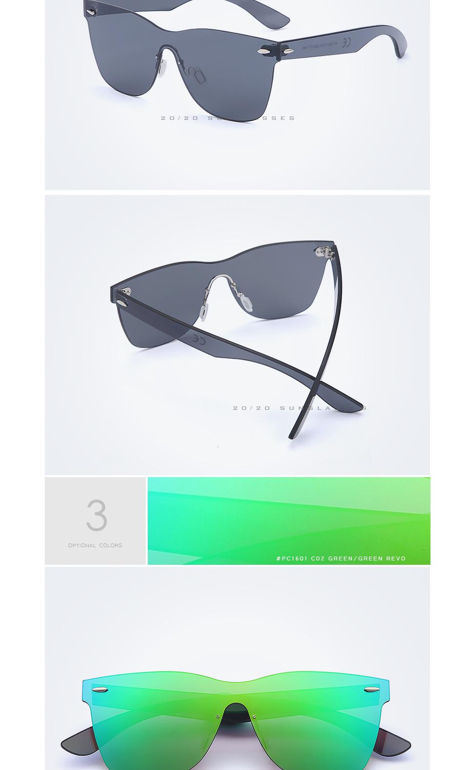 20/20 Marka Vintage Style Bez Oprawek Okularów Przeciwsłonecznych Mężczyzna Soczewka Płaska PC1601 Kwadratowych Rama Kobiety Okulary Óculos Gafas 4