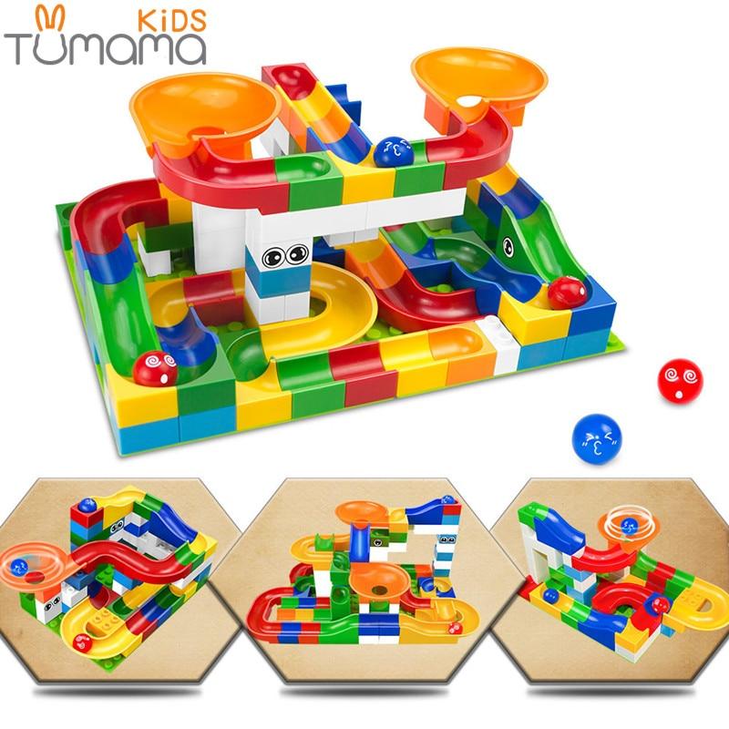 Tumama 52pcs DIY Construction Marble Race Run Maze Balls Track Kids Children Gaming Building Blocks Toys