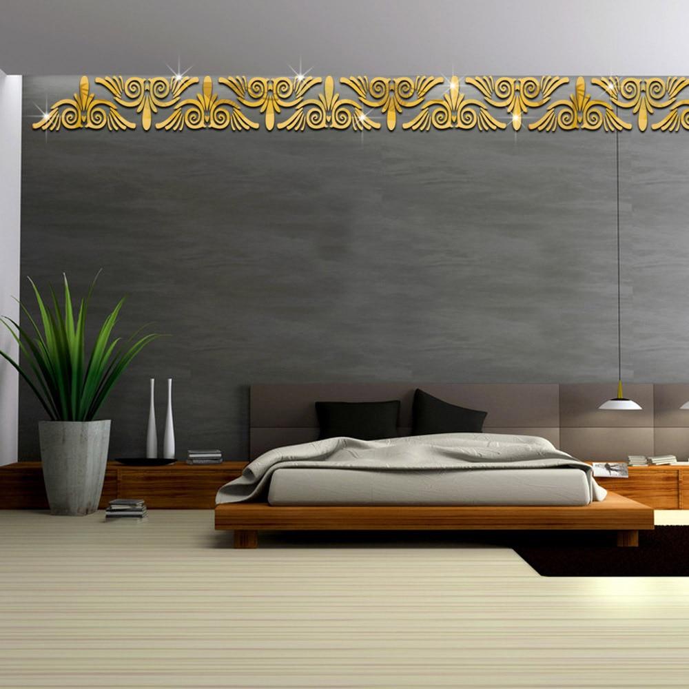 Juego de dos pegatinas de espejo de Funlife, decoración de fondo de pared para sala de estar, adhesivos de pared de espejo acrílico 1328