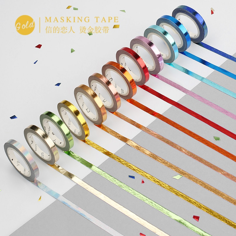 5mm * 5m farbe laser Schlank Washi Band Golding Klebeband DIY Scrapbooking Aufkleber Label Handwerk Masking Tape