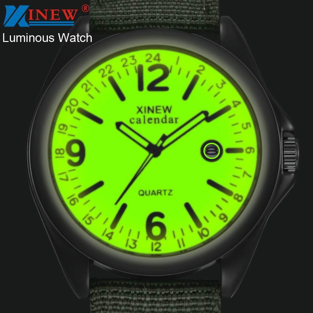 Luminous Brand Men Date Quartz Watch Army Soldier Military Nylon Strap Analog Watches Sports Clock W