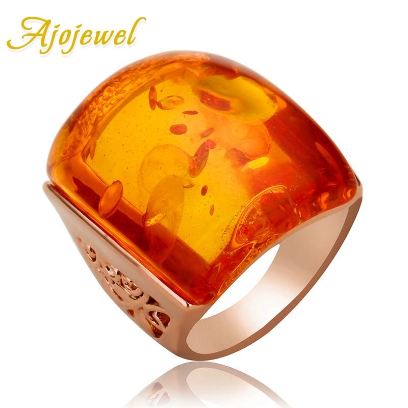 Ajojewel size 7-9 Beautiful Orange Resin Big Stone Ring Women Accessories Imitation Anel Costume Jewelry
