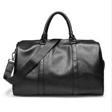 Sac de voyage en cuir PU pour hommes   Sac de Sport en plein air, sac de gymnastique, sacs à bandoulière de Fitness souple, imperméable Portable, polochon, paquet fourre-tout noir