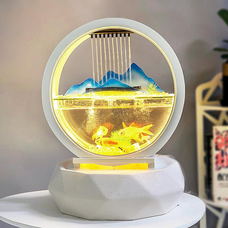 Fuente de agua de mesa LED cascada interior decoraciones de acuario humidificador MistMaker meditación pecera