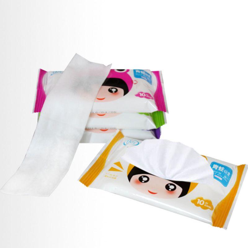10 unids/bolsa desechable Spunlace adulto bebé toallitas húmedas dulce rana de dibujos animados niña viaje portátil niños tejidos hidratante sin aroma