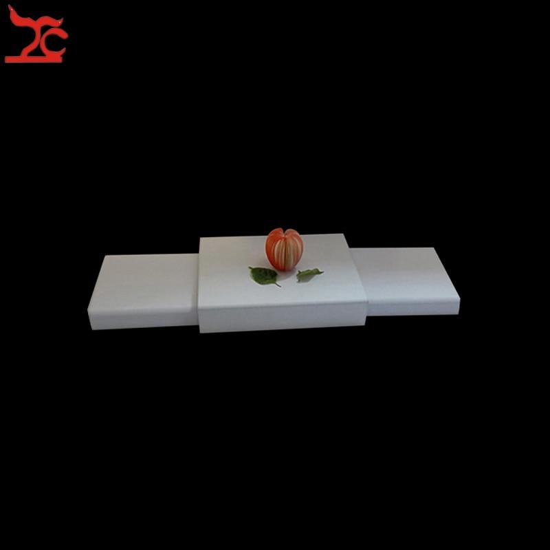 Mostrador para exhibir joyería de madera, escaparate blanco PU, plataforma de joyería, bandeja de exhibición de Joyas, soporte para caja, Base de joyería para busto
